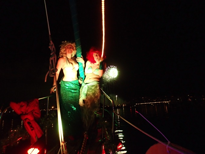 Our fantastic mermaids Sarah and Sabrina kept the fisherman trying to catch them all night!