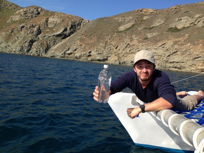 Matt collecting a water sample for ASC at Santa Barbara Island