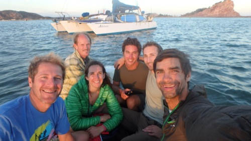 The crew and Aldebaran at the Mazatlan anchorage