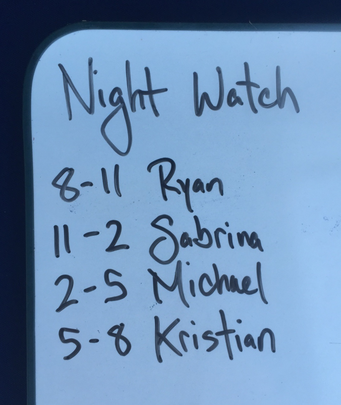 Our night watch schedule