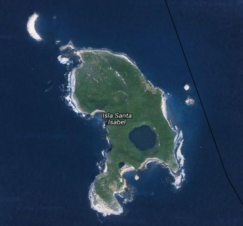 The geographically rich Isla Isabel -- note the crater lake and the half-crater on the north side of the island, called Islote Pelon.