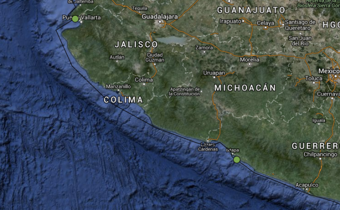 Here is our route from Punta Mita to Zihuatanejo, covering over 400 nautical miles. Click here for the Google Map link.