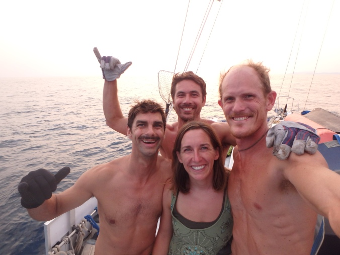 The crew post battle... we felt privileged to have an encounter with such a magnificent fish, a true king of the ocean.
