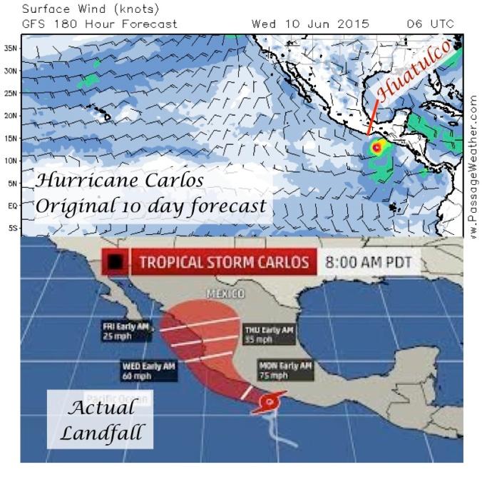 Carlos prediction landfall