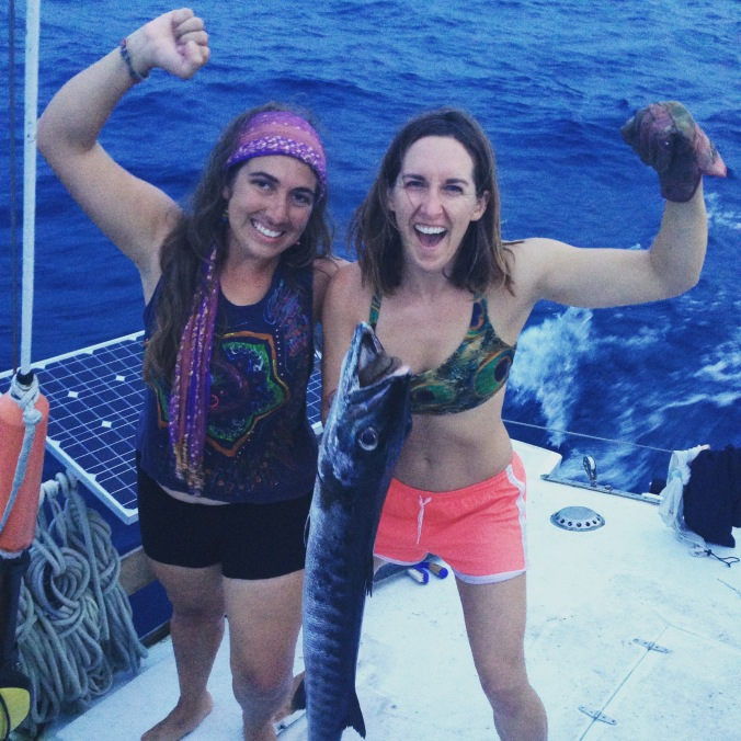 This was my first time reeling in a fish - and I landed a massive barracuda just as the sun was setting! It was so exciting! Sabrina helped me hold it up for the photo to remember the moment forever!!