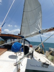 Day 1 sailing. Shortly before our first torn head sail!
