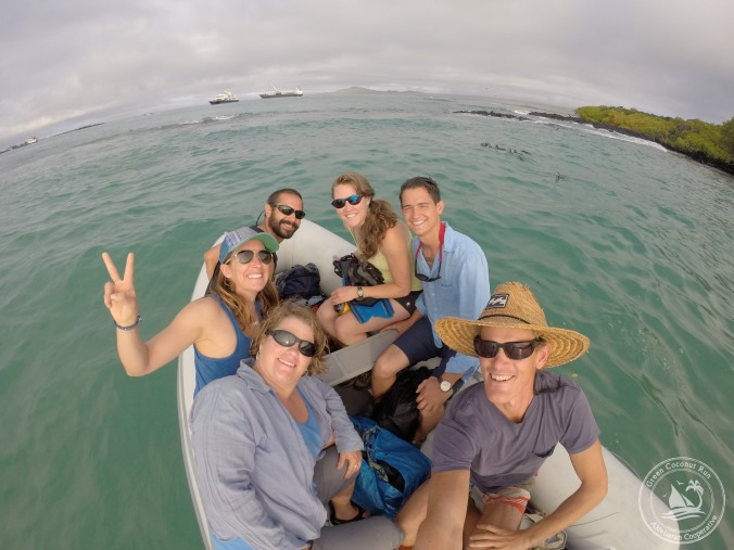 "At the ""honey hole"". Note the Galapagos penguins swimming on the right side of the photo! The Ecuador passage crew in enjoying Isla Isabela before departure... Sherry, Sabrina, Nate, Zach, Kelly, Kristian (clockwise)"