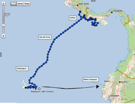 Map of sail to Ecuador