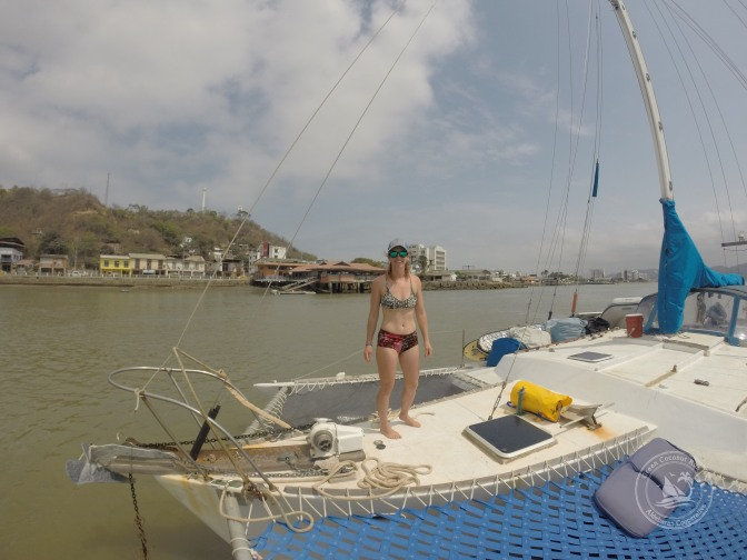 Anchoring in the Rio Chone, Bahia Caraquez. Puerto Amistad is in the background- basically a restaurant with a dock, offering security to moorings for sailboats.