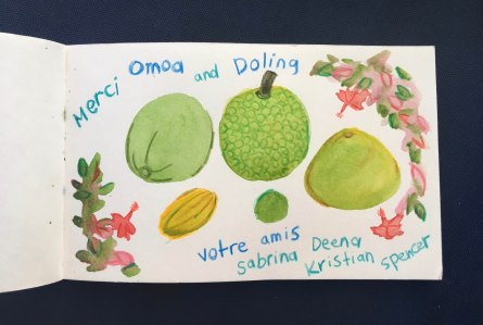 A thank you card for Dolina, these are all the fruits she gave us!
